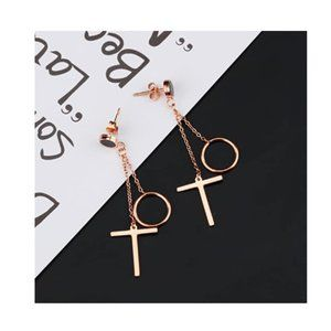 Cross Round Drop Earrings